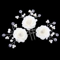 Rhinestone fabric flower hair accessory luxury white pearl bride hair maker hair stick