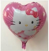 New ! Free shipping 50pcs/lot Hello kitty hearts foil balloons , 45CM * 45CM, helium balloon , cartoon toys for children
