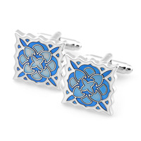 Pensee Fashion Brilliant Blue Enamel Novelty Jigsaw Silver Copper Cufflinks for Mens with Nice Case  #68