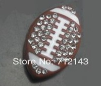 100pcs/lot 8mm Rhinestone American football / Rugby sport slide charm fit 8mm diy jewelry findings