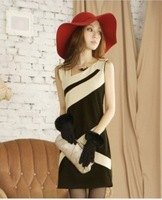 2013  Women's New Free Shipping  Splicing Slanting Shoulder Slim Dress Black LY12030704