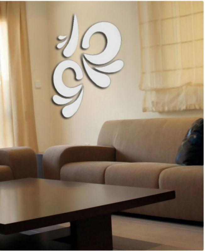Free Shipping Fashion Silver 3D Mirror Wall sticker DIY Round living room Decor Vinyl decorative(China (Mainland))