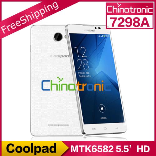 "Original Coolpad 7298A MTK6582 Quad Core 1.3G Dual-SIM WCDMA+GSM 5.5""HD IPS 1G RAM+4GB ROM White In Stock Fast Shipping(China (Mainland))"