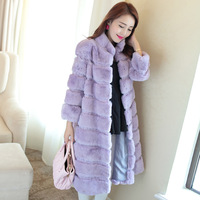 2014 rex rabbit hair fur coat long paragraph ultra plus size full leather rabbit fur overcoat stand collar women's Y8P6