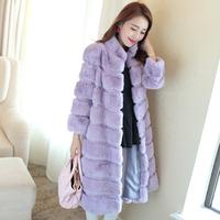 2014 rex rabbit hair fur coat long paragraph ultra plus size full leather rabbit fur overcoat stand collar women's Y8P6