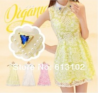 2014 summer new women Slim lapel flowers bright diamond lace dress sleeveless organza dress sweet temperament Size: S M L XL