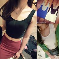 ming-014  spring and summer women's elastic slim 100% fitness vest sexy short shoulder strap design  Free Shipping