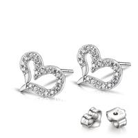 GNE0927 2014 Designer Jewelry Fashion Heart Zircon Earrings for Women Free shipping 925 Sterling silver Jewelry Stud Earrings