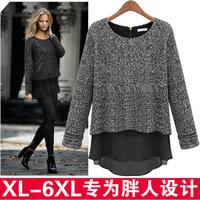Plus size clothing big size  autumn fashion oversize 2013 sweater top  XXXL XXXXL XXXXXL