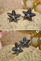 E-006 fashion cute 12pcs.lot wholesale price Ocean series Blue sea star crystal earrings cute earrings for girls
