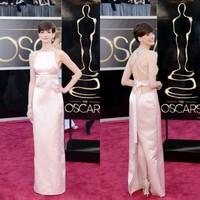 2015 Pearl Pink Oscar Awards Red Carpet Criss Cross Bandage Back Slit Floor Length Simple Sexy Anne Hathaway Celebrity Dresses