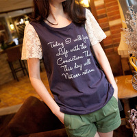 Free Shipping  Summer Preppy Style Lace Sleeve 100% Cotton Letter Print Short-sleeve T-shirt Female