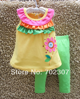 wholesale new style girl yellow flower short sleeve+ pants sets, baby cotton suit clothes 6set/lot free shipping MK04
