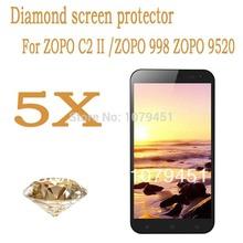 Freeshipping!5pcs Diamond Sparkling screen protector for ZOPO C2II 9520 zp998 5.5″Inch MTK6592 Octa Core,zopo c2ii screen film