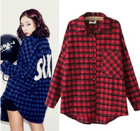 What's Hot Strike behind the letter print plaid loose medium-long all-match shirt female