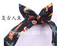Free shipping Pinup girls Head scarf Headband Merman Rockabilly Vintage Hair Wrap Tie hair