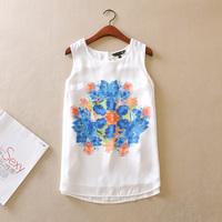 2014 spring and summer women's chiffon top white fancy chiffon shirt