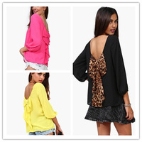 1pc Free Shipping Fashion European Style New Women 2014 Summer Chiffon Loose Backless Bow Pattern Blouses Chiffon Shirts 850308