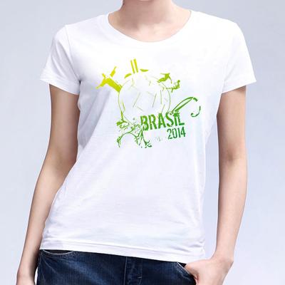 2014 New arrival Brazil world cup logo t-shirt fashion Casual football Women t shirt Soft  Plus Size (China (Mainland))