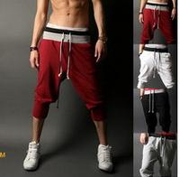 2014 men's clothing male sports Seven of pants Men's casual short plus size training trousers loose boy trousers,sweatpants