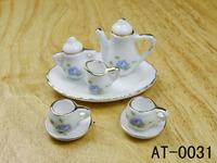 free shipping- Dollhouse doll house model blue small flower goldenbarr tea set