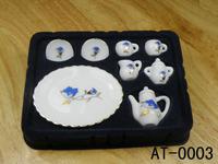 free shipping- Dollhouse doll house elegant blue flower model tea set
