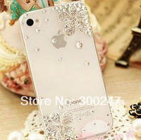 2014 Fashion Cute flower Luxury Diamond case Ballet Girl bling Rhinestone case cover for iphone 5 5s 4 4s H46