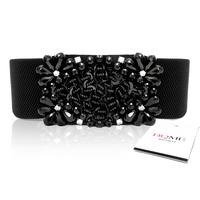 Bling diamond crystal beads elastic waist cummerbund black belt