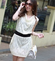 2013 Free Shipping Women's Graceful Elastic Waist Wave Designed Pleated Slim Dress Apricot/Khaki GZ11042604