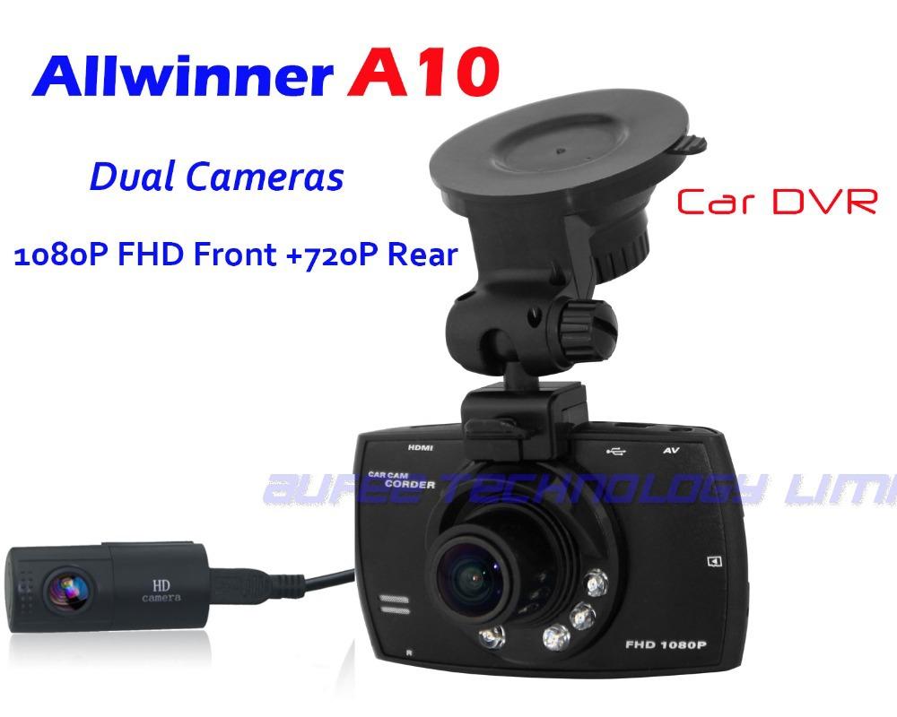 Allwinner A10 Dual lens Car Camera 1080P front+720P rear dvrs, video recorder dvr vehicle registrator(China (Mainland))