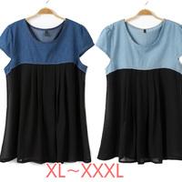 The Newest 2014 High Quality Womens Basic Denim Jean+Chiffon Blouse Plus Size XL-XXXL SIZE/Tops/Cardigan