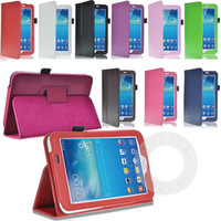 "PU Leather Stand Case Cover for Samsung Galaxy Tab 3 P3200 T210 T211 7.0"", 100Pcs/Lot Fedex Free Shipping"