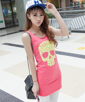 Ladies cotton Tank Tops Fashion Skull Design 2014 New Fashion Tank Tops clothes wear Drop Shipping W4324
