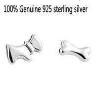 Wholesale Genuine 925 sterling silver crystal fashion earrings dog bone wedding jewelry for women 86W26