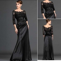 Elegant Black See though Lace Off the Shoulder Ladies Formal Prom Dress Long Sleeves Evening Dresses Pageant Party Gown 2014