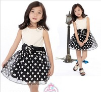 2014 NEW Girls dress children sleeveless one piece with rose kids princess dresses summer