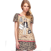 2014New Fashion Leopard Patchwork girl design women dress print short sleeve lady dresses cartoon chiffon casual cute dress 8393