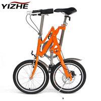 2014 New Ultra-light mini folding bicycle 18 aluminum alloy disc small wheel folding bike  Free Shipping
