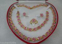 women's jewelry pink Zircon18KGP Earring Bracelet Necklace Ring
