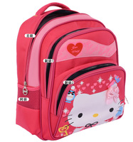 Retail Lovely Good Quality 3 Layers Hello Kitty Nylon Children Girl's Love Heart Bowknot  Backpack School bags