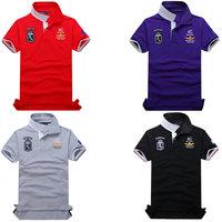 Top Quality embroidery men's Aeronautica militare Slim Fit Shirts For Men Brand Po lo T-Shirt shorts Sleeve Shirt size M-XXL