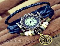 Free Shipping Fashion Women Genuine Leather Retro Wristwatches Bracelet Dragon and Phoenix Pendant Quartz Watches