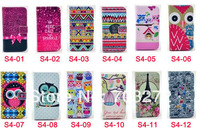 1pcs ROMANE Cute korean lovely cartoon leather stand wallet card Holder Owl case for Samsung Galaxy S4 i9500 freeshipping