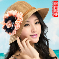 New 2014 Women Casual Wild Summer Beach hat Flower Chiffon Straw Sun Hat Free Shipping   E001