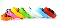 Solid Color Nylon Band Dog Pet LED Flashing Collar Light Up Necklace Adjustable S M L and 7 Colors wholesale 10pcs/lot