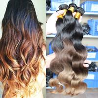 4pcs SunnyQueen Hair Products Body Wave Brazilian Virgin Hair Extension Human Hair Ombre Hair Extensions three tone 1b/#4/#27