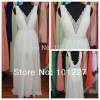 BMD014 V-neck Lace Chiffon Wedding Dress With Slit, Backless Ivory Custom Made Bridal Wedding Dress, Beading Wedding Dress