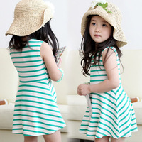 2014 summer stripe girls clothing baby child sleeveless one-piece dress tank dress qz-0668