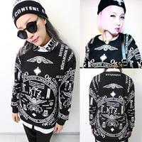 New 2014 Harajuku t-shirt ktz letter skull gdt long-sleeve casual sweatshirt 6603 factory wholesale free shipping 1122