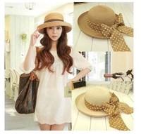2014 new Retail Fashion Women Wide Large Brim Floppy Summer Beach a Sun hat Straw Hat button Cap summer bow hats for women